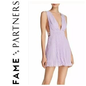 FAME and PARTNERS Briella lilac pleated dress